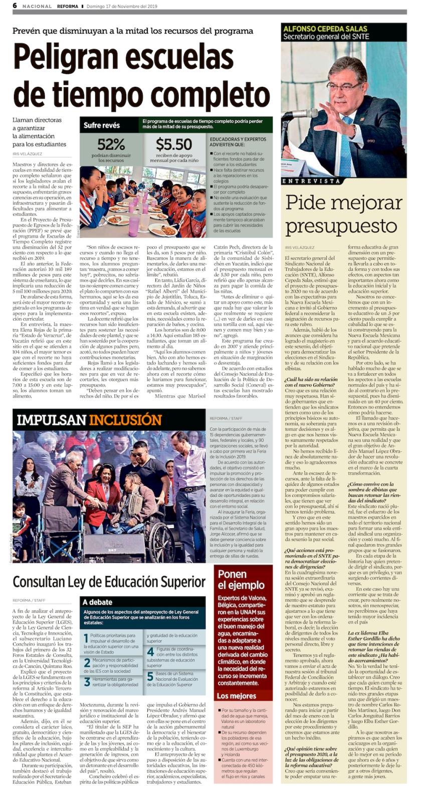 Entrevista del Maestro Alfonso Cepeda publicada hoy en el periodico Reforma